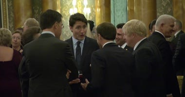 Emmanuel Macron, Justin Trudeau, Boris Johnson at NATO summit