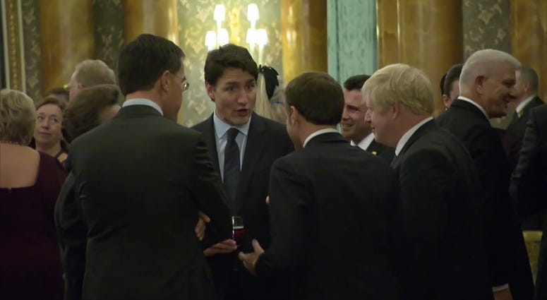 Emmanuel Macron, Justin Trudeau, Boris Johnson at NATO summit