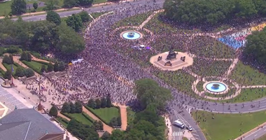 Thousands of protesters assembles Saturday afternoon at the Philadelphia Museum of Art for another day of protests.