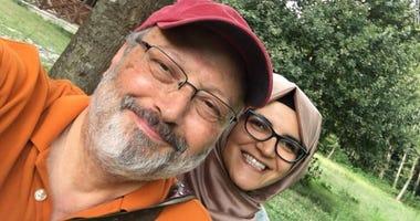 Jamal Khashoggi with fiancée
