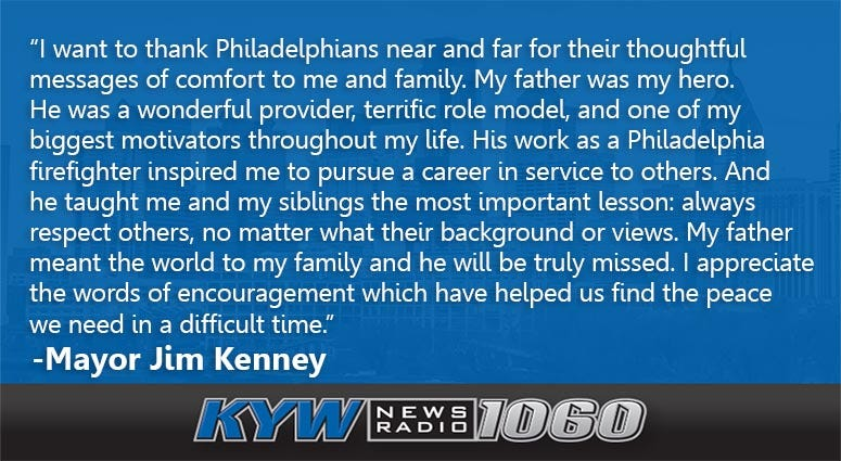 Mayor Kenney released a statement on the death of his father.