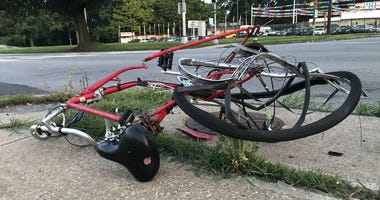 The rider of this bicycle was sent to the hospital after a hit and run on Roosevelt Boulevard.