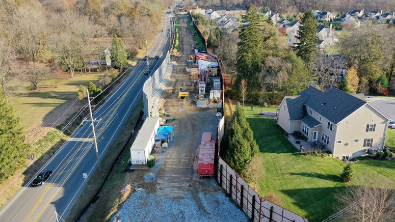 Image taken from drone shows Mariner East construction.