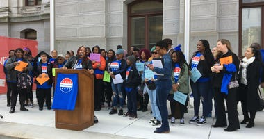 The Mastery Charter School community rallies outside of Philadelphia City Hall