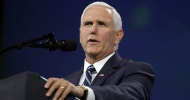 Vice President Mike Pence speaks to the annual meeting of the National Rifle Association, Friday, April 26, 2019, in Indianapolis.