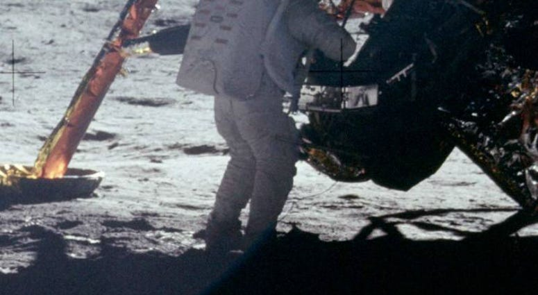 A photograph of Neil Armstrong taken by Buzz Aldrin. This is one of the few photographs of Armstrong on the lunar surface; most of the time he had the camera.