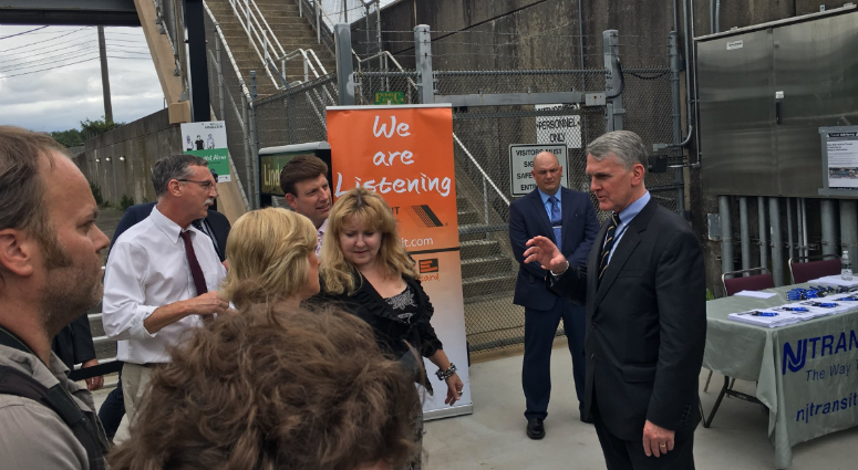 "Kevin Corbett, executive director of NJT, met with commuters at Lindenwold Station for a ""We Are Listening"" forum."