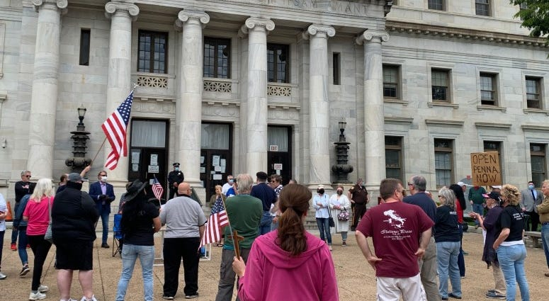 Protesters at Open Up Delco Freedom rally at the Delaware County courthouse