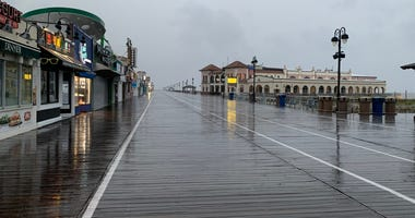 The Ocean City, N.J., boardwalk was all but empty Friday morning.