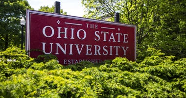 This May 8, 2019 photo shows a sign for Ohio State University in Columbus, Ohio.