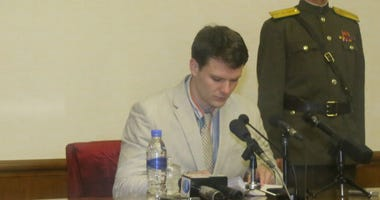 Otto Frederick Warmbier, a 21-year-old undergraduate student of commerce from Virginia University of the U.S., speaks during a news conference in Pyongyang.