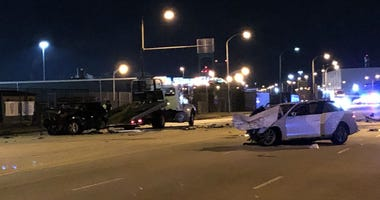 The driver of an Audi sedan lost control of his vehicle and hit an SUV moving in the opposite direction.