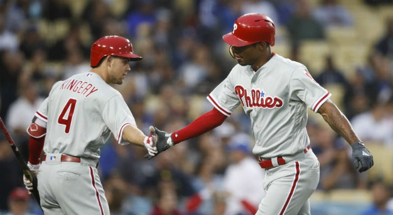 Philadelphia Phillies' Nick Williams and Scott Kingery