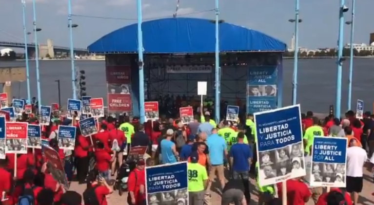 Thousands of union workers from up and down the East Coast gathered at Penn's Landing Wednesday afternoon to stand against the Trump administration's immigration policies.