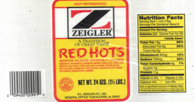 More than 11,000 pounds of Zeigler Red Hots ready-to-eat chicken and pork sausage products have beenrecalled.
