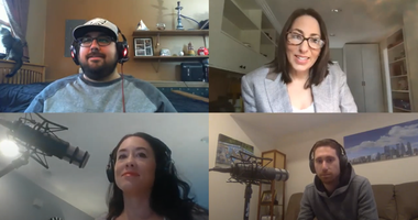 A recording of the podcast Dating Diaries: Quarantine Confessions, featuring hosts Andrea Gunning (lower left) and Ben Fetterman (lower right).