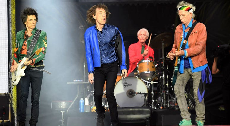 Ronnie Wood, Mick Jagger, Charlie Watts and Keith Richards of The Rolling Stones perform on stage at the Principality Stadium in Cardiff on June 15, 2018.