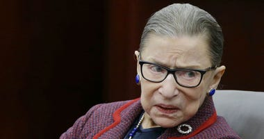 """In this Jan. 30, 2018 photo, Supreme Court Justice Ruth Bader Ginsburg participates in a """"fireside chat"""" in the Bruce M. Selya Appellate Courtroom at the Roger William University Law School in Bristol, R.I."""