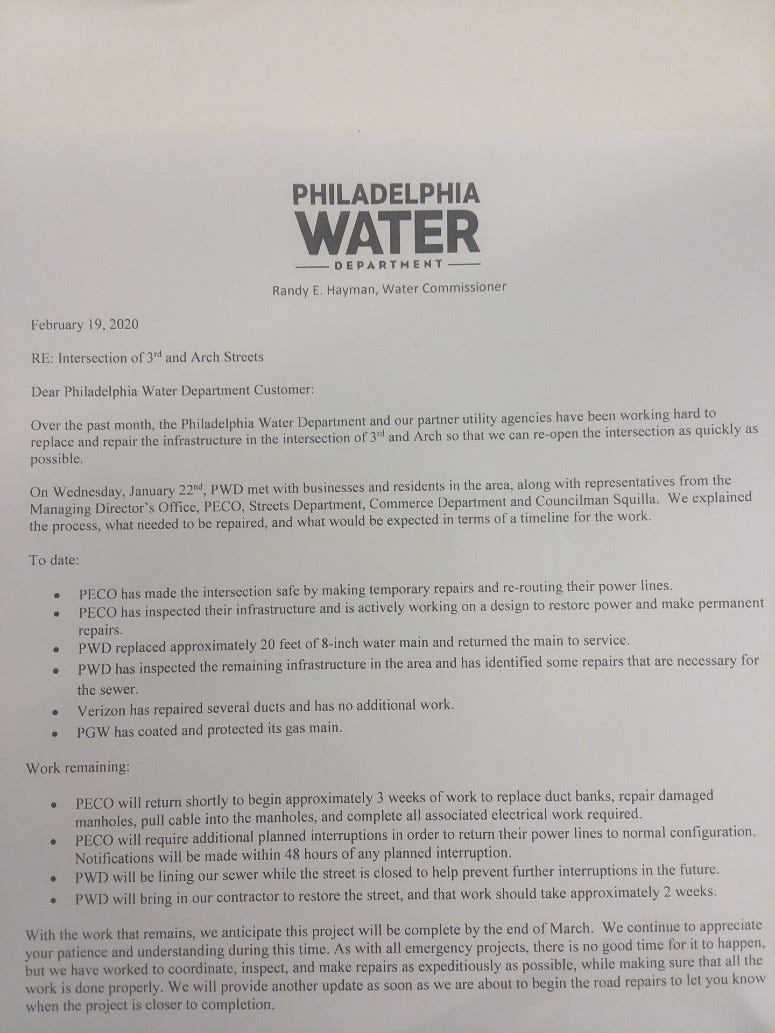 Copy of letter sent to residents and businesses in Old City.