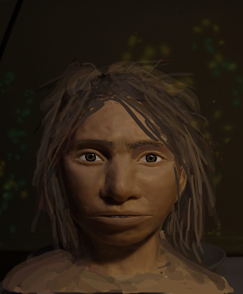 This image shows a preliminary portrait of a juvenile female Denisovan based on a skeletal profile reconstructed from ancient DNA methylation maps.