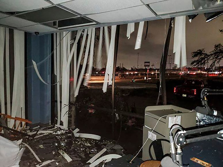 In this Sunday, Oct. 20, 2019, damage to the KNON-FM radio station studio is seen after a tornado touched down in Dallas, Texas.