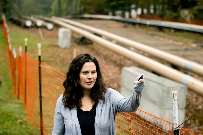 Carrie Gross speaks during an interview with The Associated Press along the Mariner East pipeline in Exton, Pa.