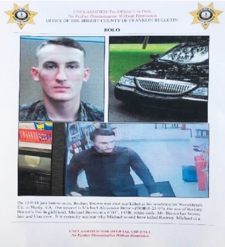 In this undated image released by the Franklin County (Va.) Sheriff's Office, U. S. Marine Michael Alexander Brown is shown.
