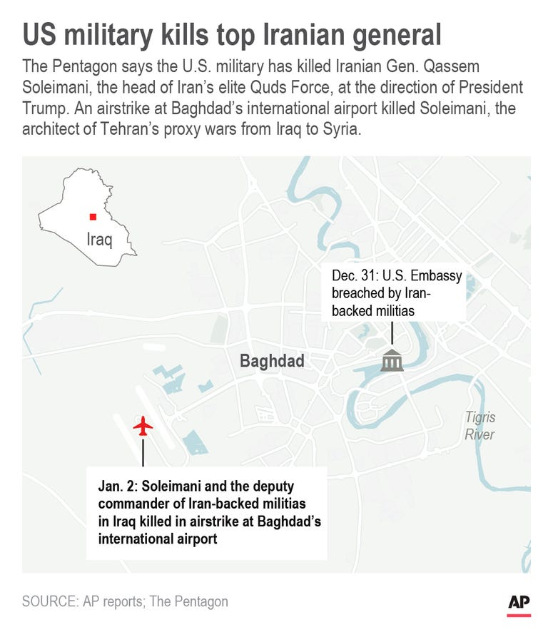 Map shows airstrikes on U.S. embassy and airport in Baghdad.