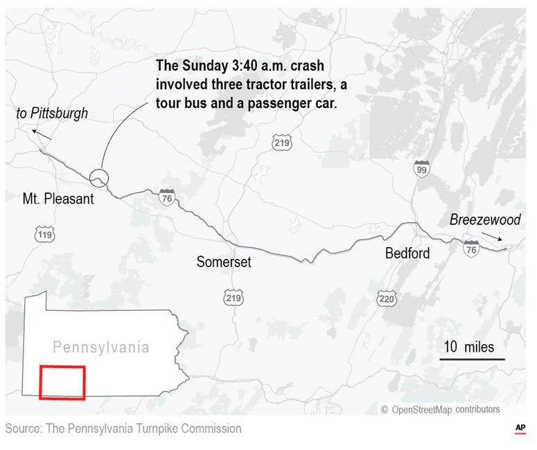 5 dead, dozens hospitalized in Pennsylvania Turnpike crash.