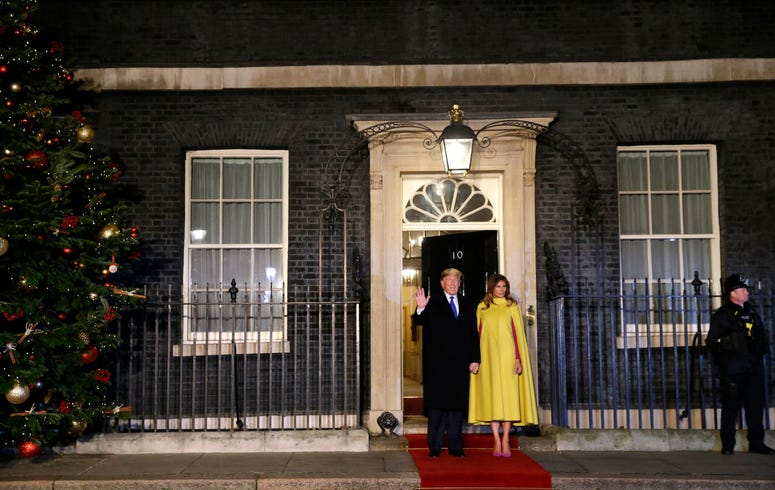 In this Dec. 3, 2019, file photo, U.S. President Donald Trump and first lady Melania arrive at 10 Downing Street in London ahead of a NATO reception hosted by British Prime Minister Boris Johnson. ()