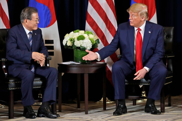 President Donald Trump meets with Korean President Moon Jae-in​ at the InterContinental Barclay hotel during the United Nations General Assembly, in New York, Sept. 23, 2019.