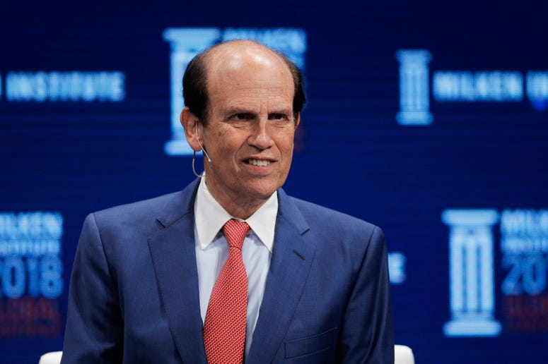 Financier Michael Milken leads a discussion at the Milken Institute Global Conference in Beverly Hills, Calif., on April 30, 2018.
