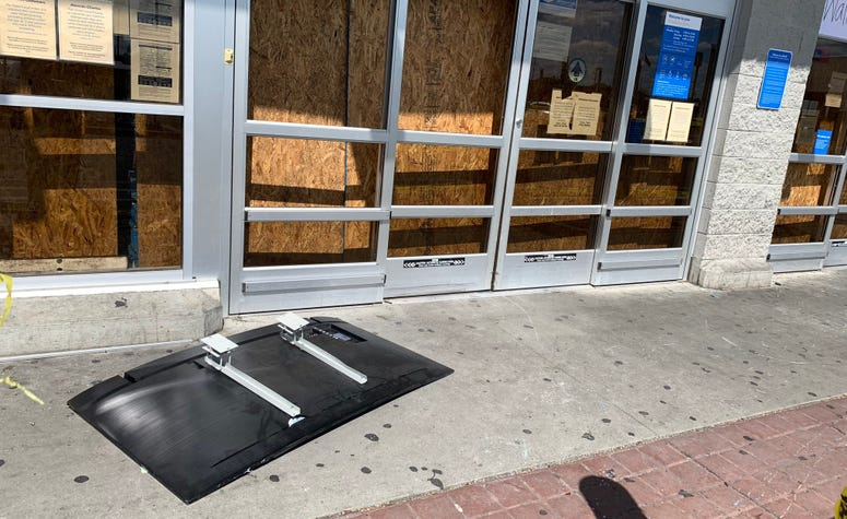 A flat-screen television was left outside of a Walmart on Aramingo Avenue that had been looted. A second flat-screen was left in the parking lot.