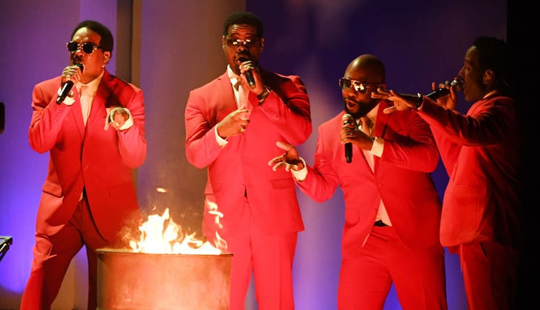 (L-R) Charlie Wilson and Nathan Morris, Wanya Morris, and Shawn Stockman of music group Boyz II Men perform onstage during the 62nd Annual GRAMMY Awards at STAPLES Center on January 26, 2020 in Los Angeles, California.