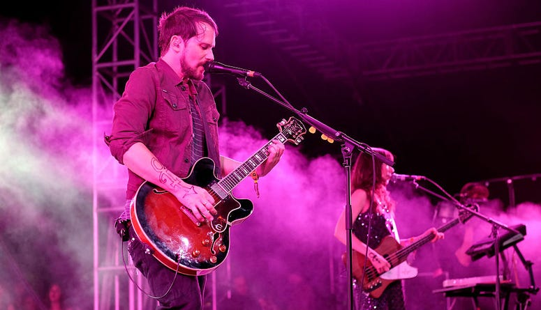 Musicians Brian Aubert (L) and Nikki Monninger of Silversun Pickups perform onstage during day 2 of the 2016 Coachella Valley Music & Arts Festival Weekend 2 at the Empire Polo Club on April 23, 2016 in Indio, California.