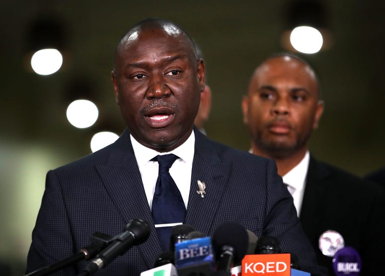 Attorney Ben Crump speaks during a news conference at the Southside Christian Center on March 30, 2018 in Sacramento, California.