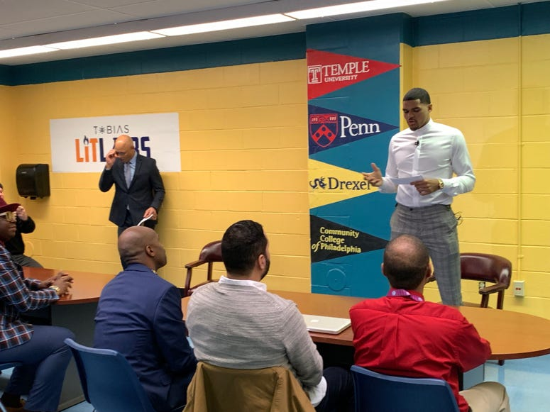 Sixers Tobias Harris acknowledged need for more Black male teachers when he visited Bethune Elementary in Philadelphia.