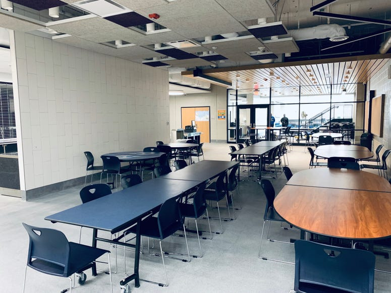 Seating area in the refurbished Ben Franklin cafeteria
