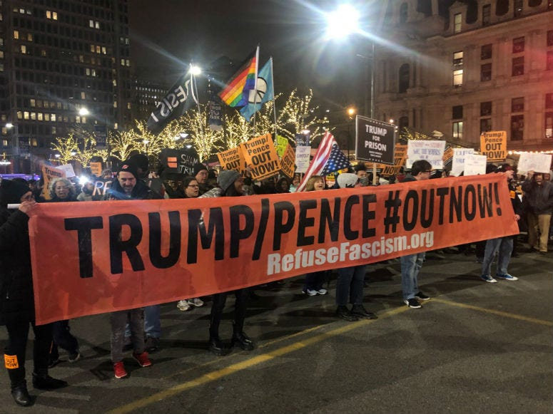 Right after President Donald Trump was acquitted, protestors started gathering outside City Hall, shutting down the streets ,while chanting and holding signs up high.