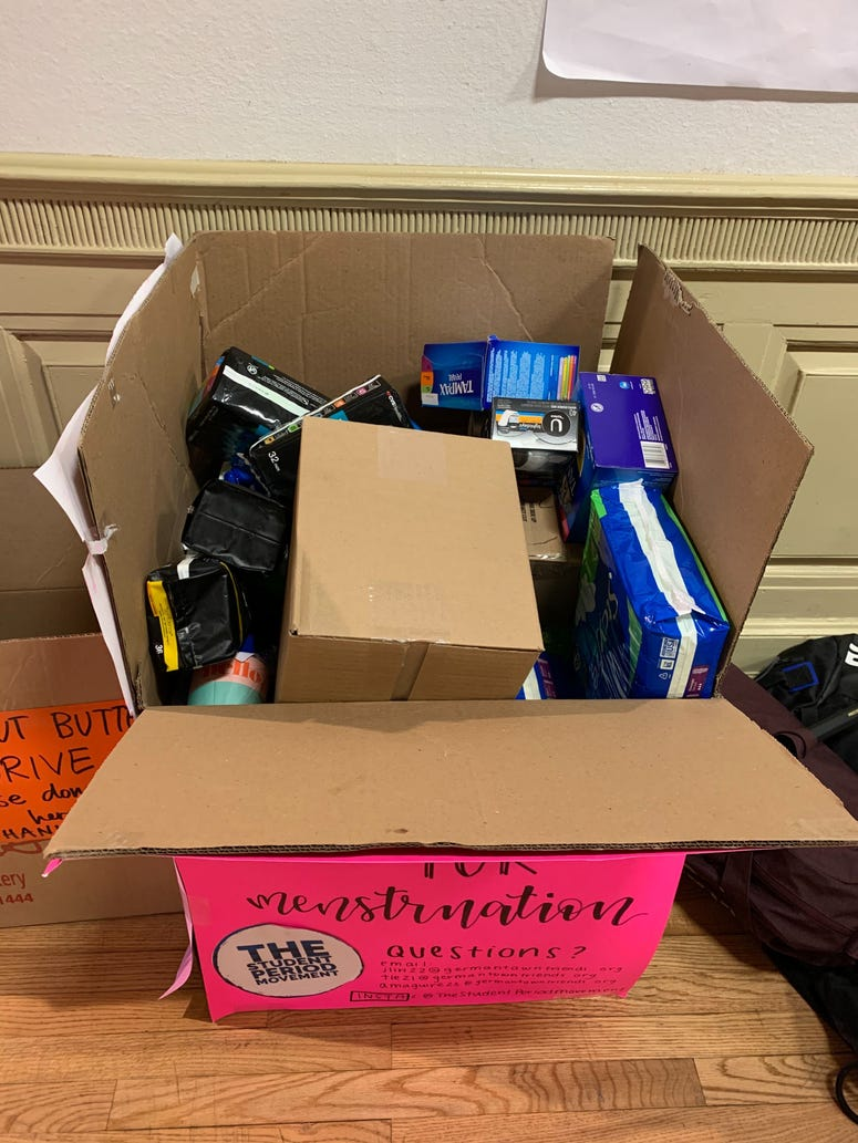 The Student Period Movement is using collection drives to open a conversation about menstruation.