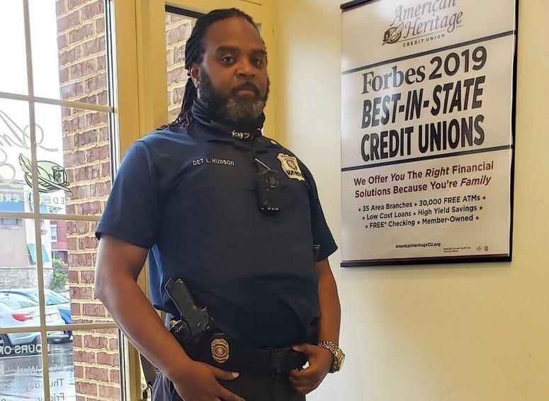 Lamont Hudson helped guard businesses in Port Richmond during the civic unrest.