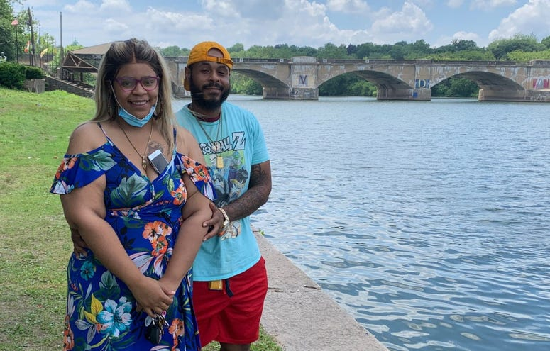 Alayna Williams and Derek Jones have come to the Schuylkill seeking peace and quiet.