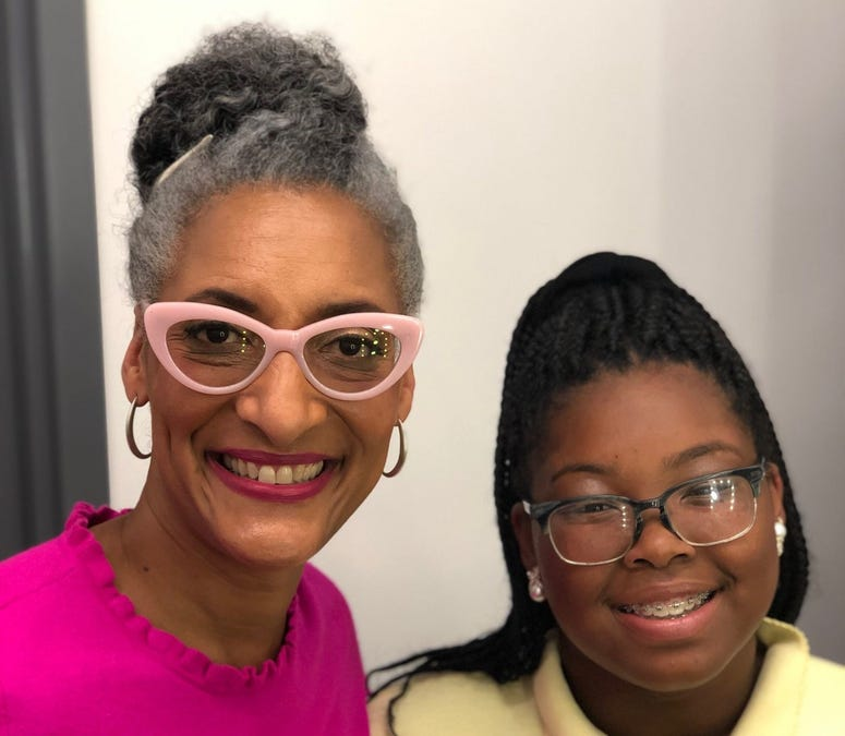 "Lindenwold's Bryana Turner (right) with TV chef Carla Hall, one of the judges on ""Girl Scout Cookie Championship."""