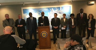 (From L to R) Congressman Bob Brady, Mayor Kenny, council pres. Darrell Clarke, Cong. Dwight Evans, cong. Brendan Boyle, Sister Mary Scullion, Councilwoman Jannie Blackwell, PHA dir. Kelvin Jeremiah, Donna Cooper of PCCY