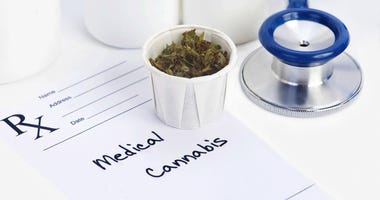 Medical marijuana in paper cup with prescription. Document is fictitious.