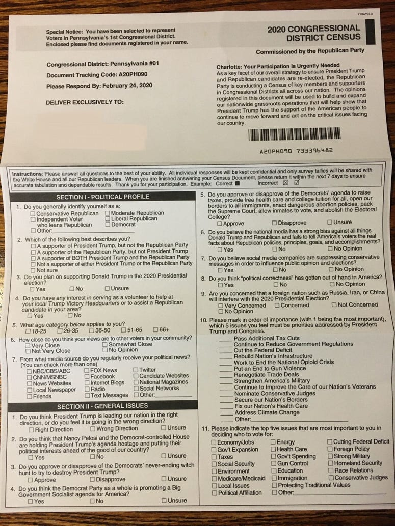 Suburban Philadelphia residents are receiving a mailing from the Republican National Committee that has come under fire nationally because of its resemblance to the U.S. Census form.