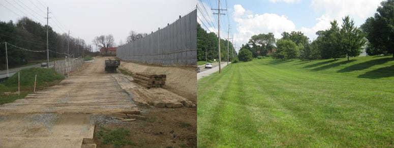 Before and after images showing the changes to the Andover Estates' open space in Thornbury Township, Delaware County.
