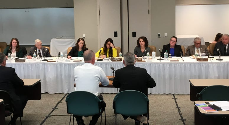 The New Jersey Assembly and Senate Education Committees meeting in Cherry Hill.