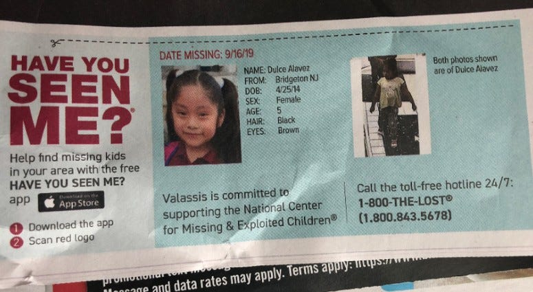 An advertisement profiles the case of Dulce Alavez.