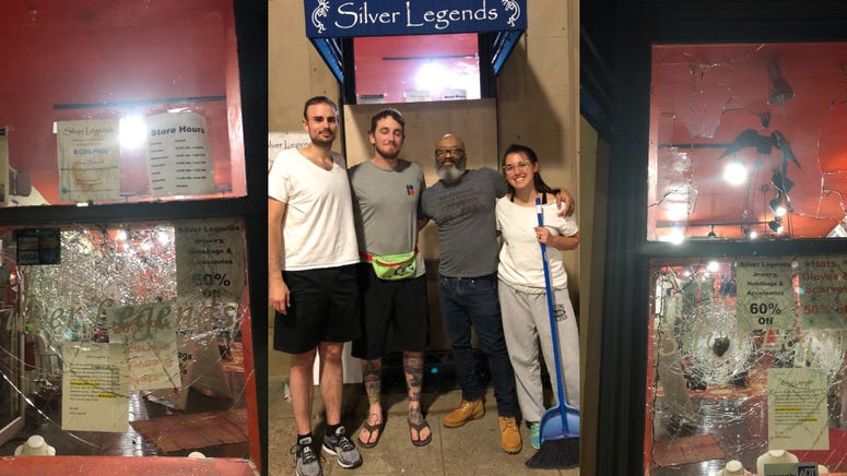 The Silver Legends jewelry store was broken into during Saturday's riots, leaving owner Leon Scott to pick up the pieces.